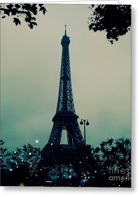 The Trees Greeting Cards - Garden Party Eiffel Tower Greeting Card by Marina McLain