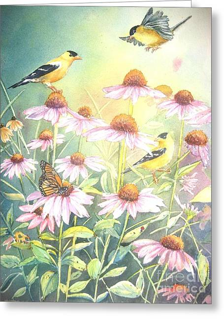 Garden Party Greeting Card by Patricia Pushaw