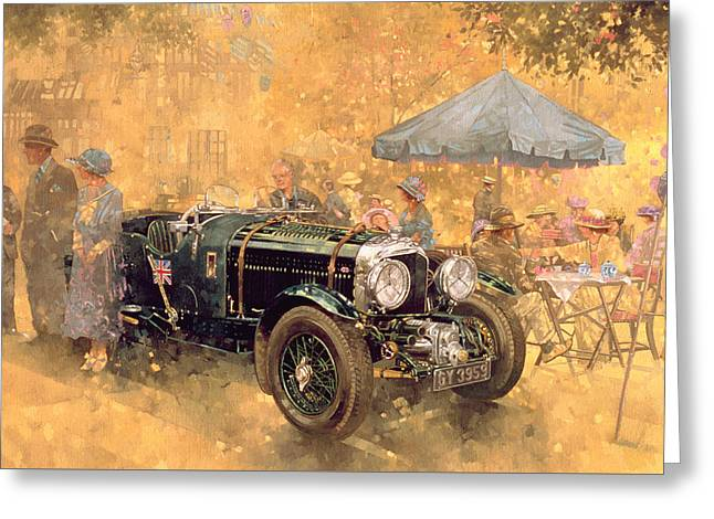 Stylish Car Greeting Cards - Garden Party with the Bentley Greeting Card by Peter Miller