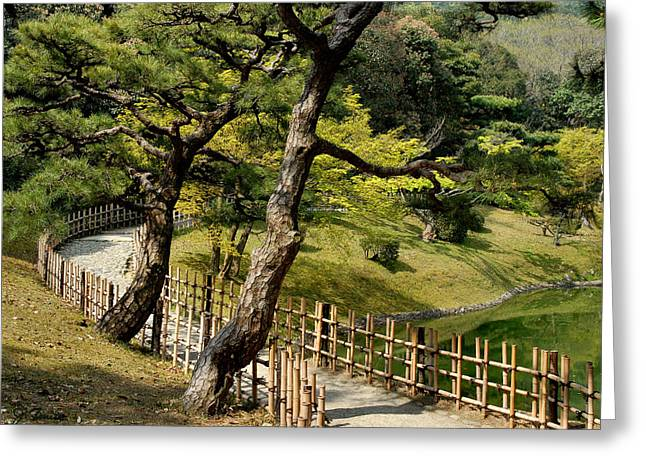 Himeji Castle Garden Greeting Cards - Garden Path Greeting Card by Joe Bonita