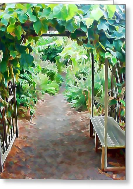 Grape Leaf Mixed Media Greeting Cards - Garden Path Greeting Card by Pamela Walton