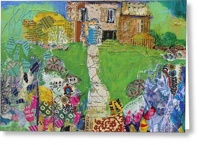 Newspaper Collage Greeting Cards - Garden Path Greeting Card by Sylvia Paul