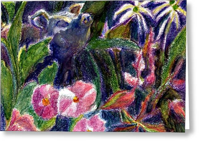 Best Sellers -  - Garden Statuary Greeting Cards - Garden Pig Greeting Card by Jimmie Trotter