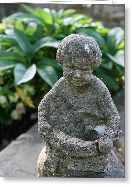 Garden Statuary Greeting Cards - Garden Reader Greeting Card by Alice  Morgan