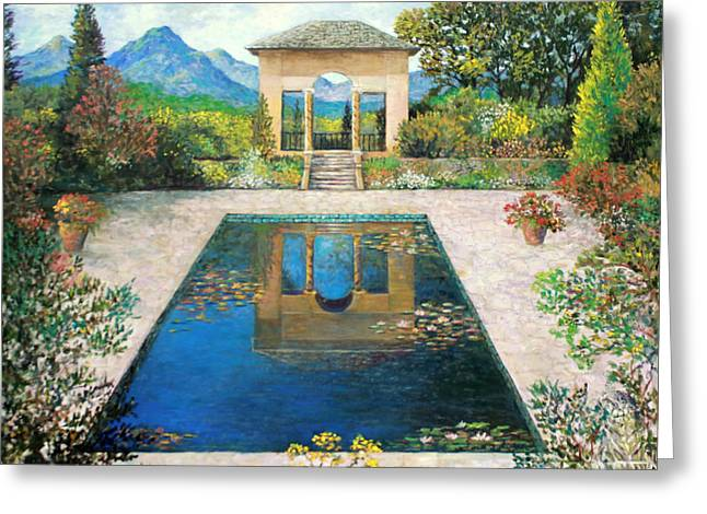 The Houses Greeting Cards - Garden Reflection Pool Greeting Card by Lou Ann Bagnall