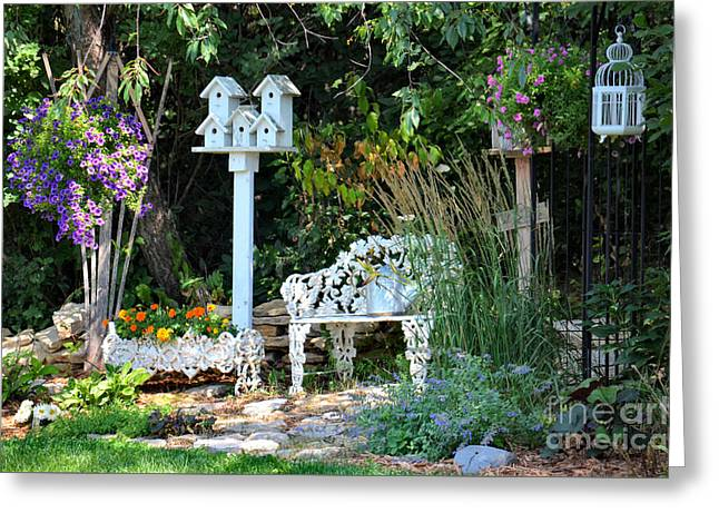 Nature Scene Greeting Cards - Garden Respite Greeting Card by Deb Halloran