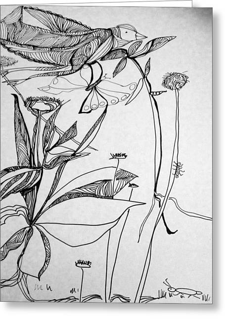 Pen And Ink Drawing Greeting Cards - Garden Greeting Card by Rosalinde Reece