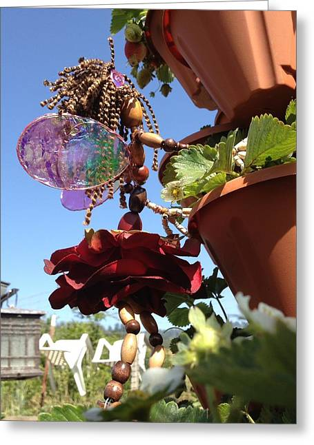 Fairies Sculptures Greeting Cards - Garden Rose Fairy Greeting Card by Shawna Namaste