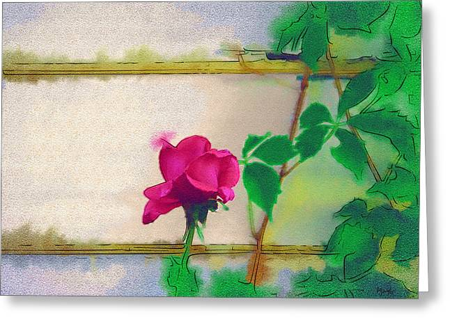 Digital Paint Greeting Cards - Garden Rose Greeting Card by Holly Ethan