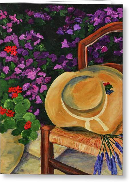 Nature Scene Paintings Greeting Cards - Garden scene Greeting Card by Elise Palmigiani