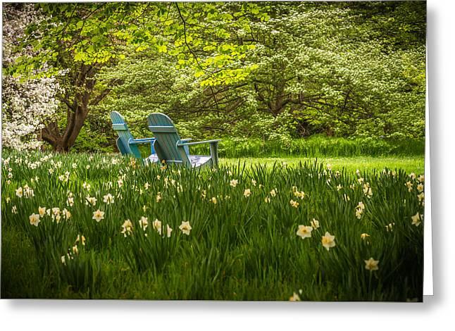 Garden Seats Greeting Card by Kristopher Schoenleber