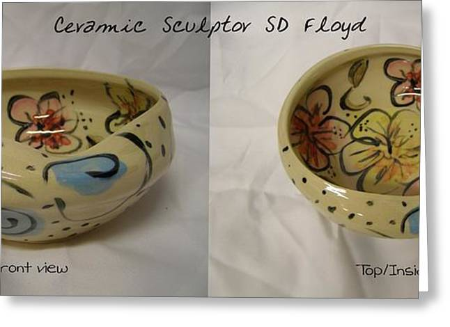 Ceramic Ceramics Greeting Cards - Garden Series Bowl 1 Greeting Card by Sandi Floyd