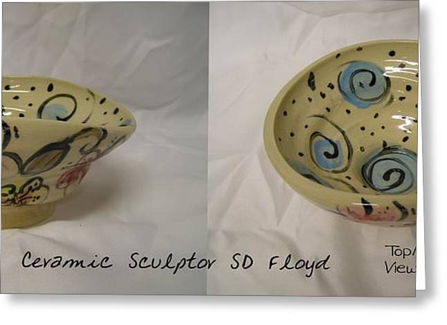 Ceramic Ceramics Greeting Cards - Garden Series Bowl 2 Greeting Card by Sandi Floyd