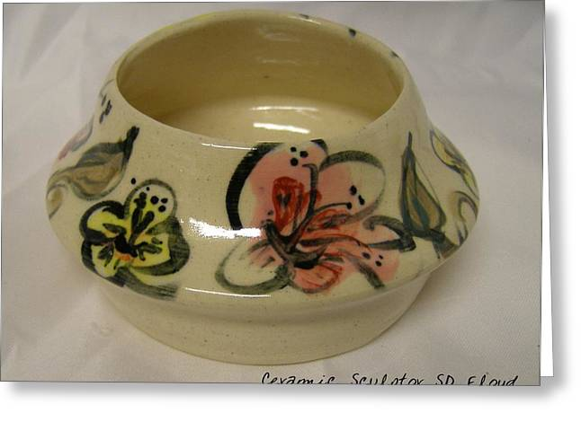 Ceramic Ceramics Greeting Cards - Garden Series Bowl 4 Greeting Card by Sandi Floyd