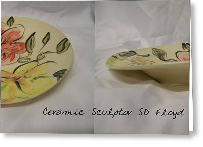 Ceramic Ceramics Greeting Cards - Garden Series Plate Greeting Card by Sandi Floyd