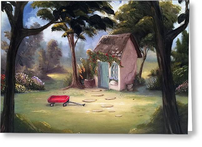 Shed Greeting Cards - Garden Shed  Greeting Card by Susan  Rossell