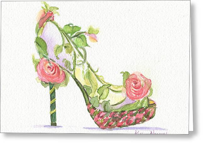 High Heeled Paintings Greeting Cards - Garden Shoe Greeting Card by Kathy Nesseth