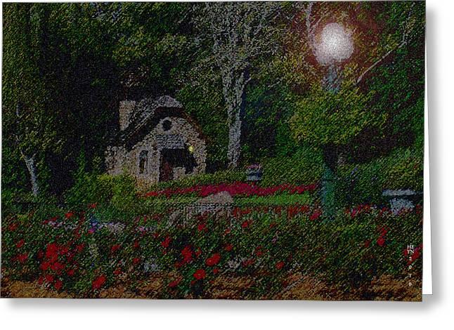 Night Lamp Mixed Media Greeting Cards - Garden Sleeping Greeting Card by Shirley Heyn