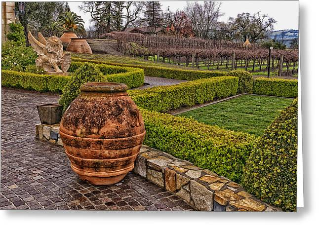 Garden Statuary At The Del Dotto Estate Winery Greeting Card by Mountain Dreams