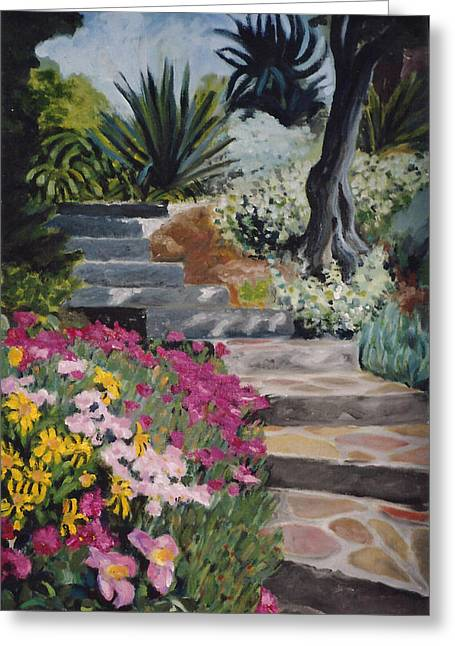 Stepping Stones Greeting Cards - garden steps France Greeting Card by Cecile Poletti