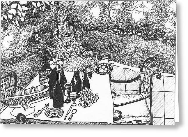Garden Table Greeting Card by Jo Anna McGinnis