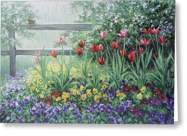 Garden Tulips Greeting Card by Laurie Hein