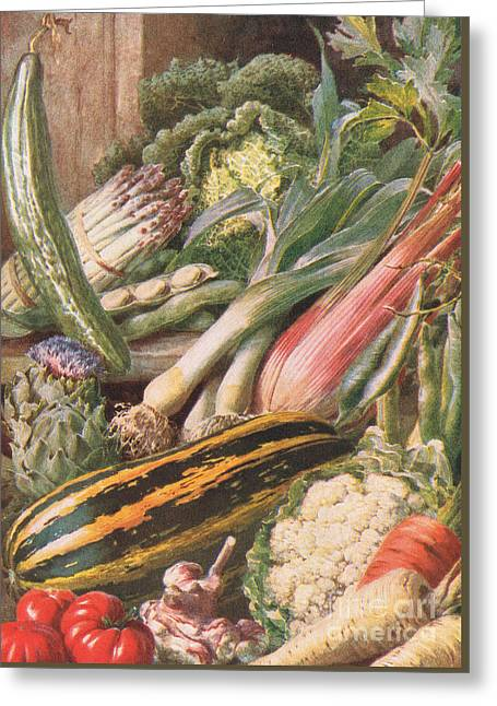 Garden Vegetables Greeting Card by Louis Fairfax Muckley