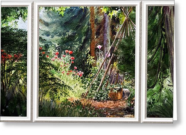 Californian Greeting Cards - Garden View Window Greeting Card by Irina Sztukowski