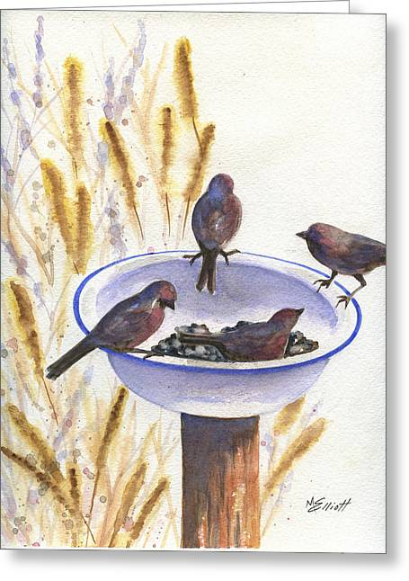 Feed Paintings Greeting Cards - Garden Visitors Greeting Card by Marsha Elliott