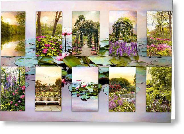 Nature Collage Greeting Cards - Garden Windows Collage Greeting Card by Jessica Jenney