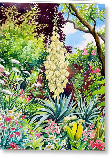 Natural Beauty Paintings Greeting Cards - Garden with Flowering Yucca Greeting Card by Christopher Ryland