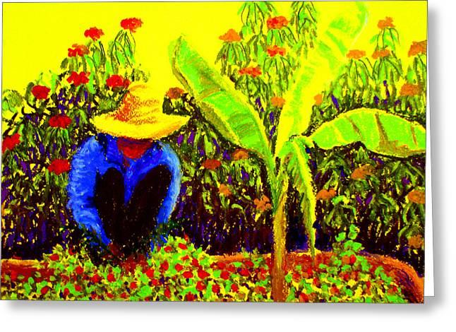 Banana Pastels Greeting Cards - Gardener Greeting Card by Art Nomad Sandra  Hansen