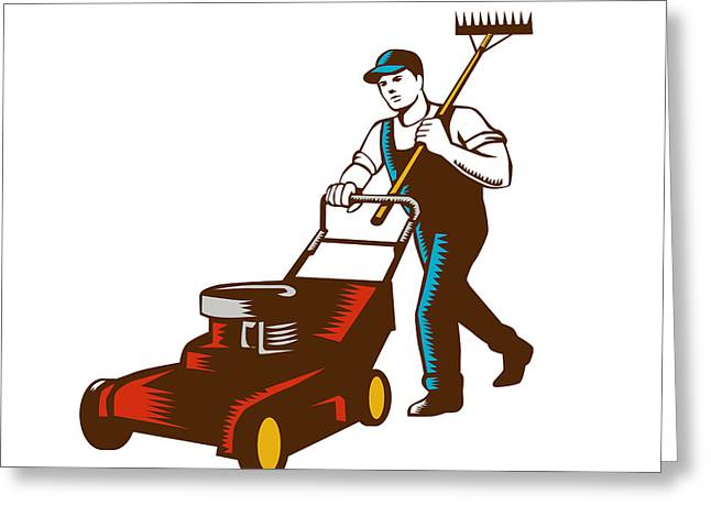 Gardener Lawn Mower Rake Woodcut Greeting Card by Aloysius Patrimonio