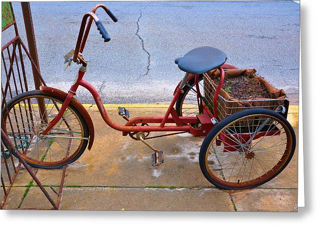 Tricycle Greeting Cards - Gardeners Express Greeting Card by Jan Amiss Photography