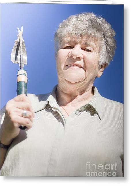 Gray Hair Greeting Cards - Gardening Senior Woman Greeting Card by Ryan Jorgensen