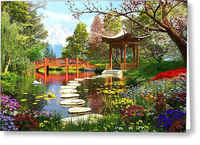 Japan House Greeting Cards - Gardens of Fuji Greeting Card by Dominic Davison