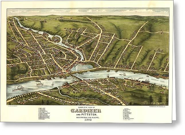 Gardiner And Pittston Maine 1878 Greeting Card by Mountain Dreams