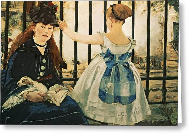 Railing Greeting Cards - Gare St Lazare Greeting Card by Edouard Manet