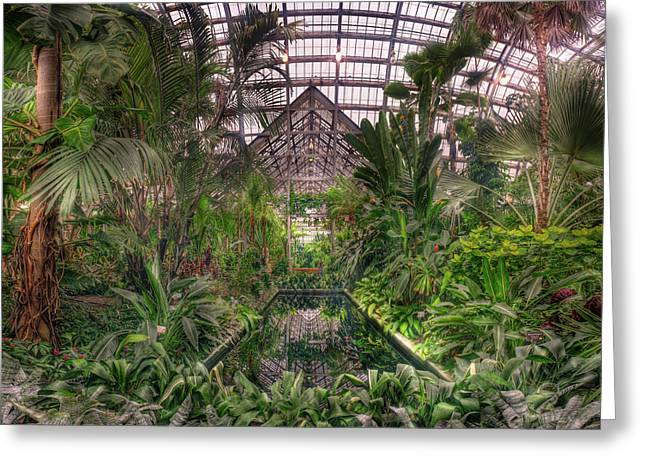Garfield Greeting Cards - Garfield Park Conservatory Reflecting Pool Greeting Card by Steve Gadomski