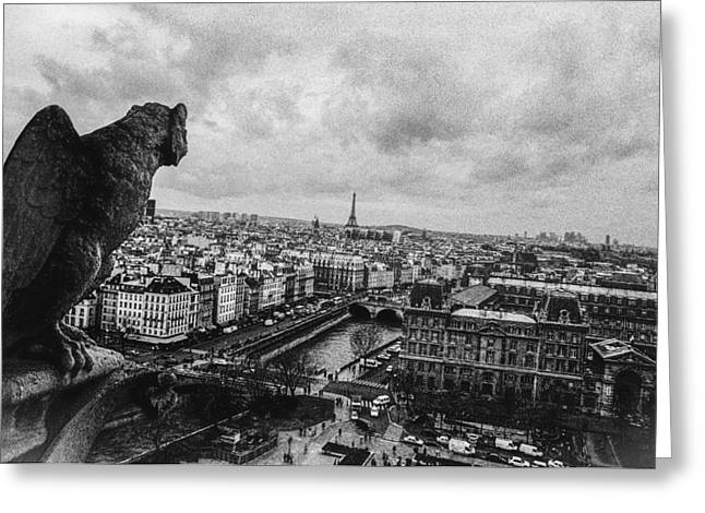 People Pyrography Greeting Cards - Gargoyle  Greeting Card by Cyril Jayant