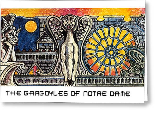 Gargoyles Of Notre Dame Greeting Card by John Keaton