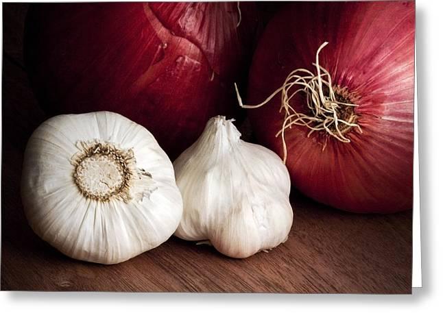 Garlic And Onions Greeting Card by Tom Mc Nemar