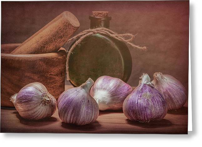 Garlic Bulbs Greeting Card by Tom Mc Nemar