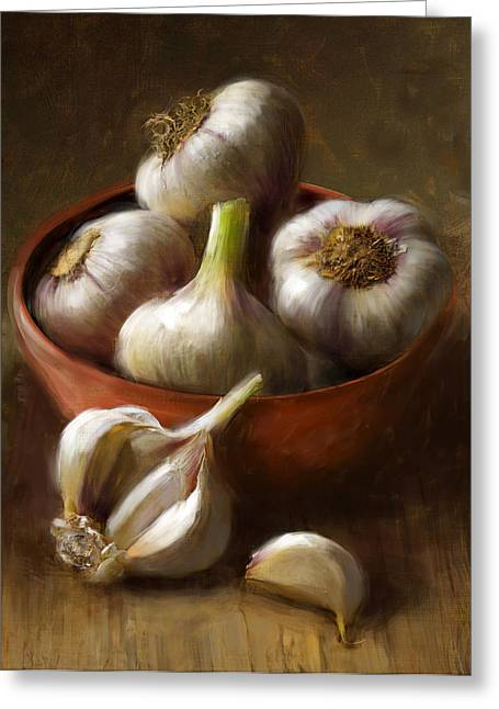 Still Life Glass Greeting Cards - Garlic Greeting Card by Robert Papp