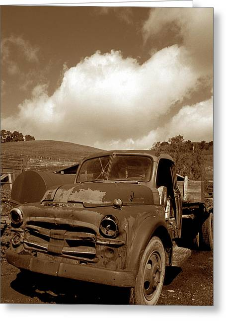 Old Trucks Greeting Cards - Garrods Old Truck 2 Greeting Card by Kathy Yates