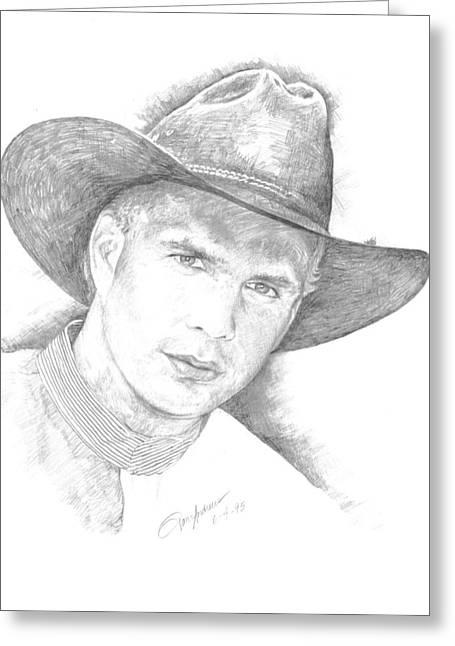 Nashville Drawings Greeting Cards - Garth Brooks Greeting Card by Jan Andrews