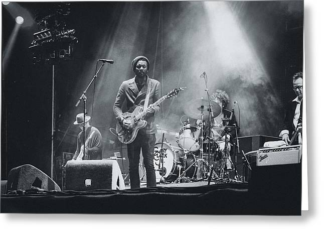 I Live Greeting Cards - Gary Clark, Jr. Playing Live Greeting Card by Marco Oliveira