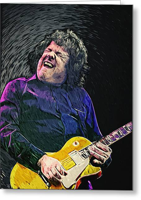 Skid Row Greeting Cards - Gary Moore Greeting Card by Taylan Soyturk