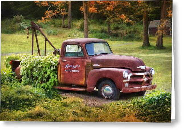 Overgrown Greeting Cards - Garys Auto Body Greeting Card by Lori Deiter