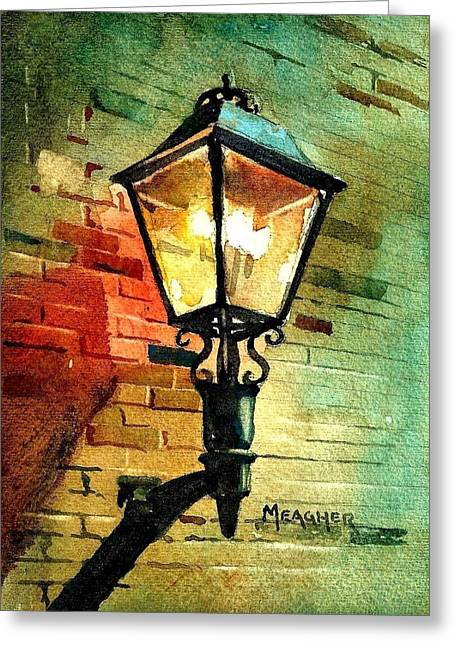 Spencer Meagher Greeting Cards - Gas Lamp Greeting Card by Spencer Meagher